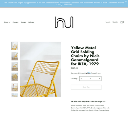Yellow Metal Grid Folding Chairs by Niels Gammelgaard for IKEA, 1979