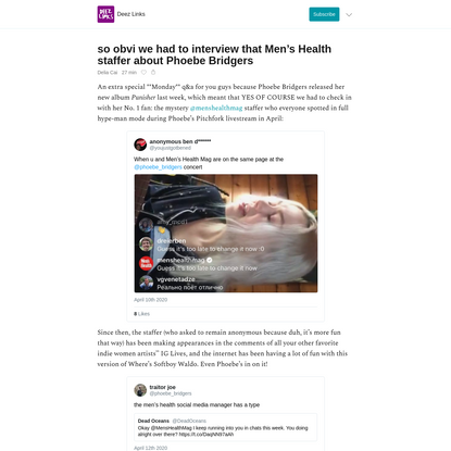 so obvi we had to interview that Men's Health staffer about Phoebe Bridgers - Deez Links