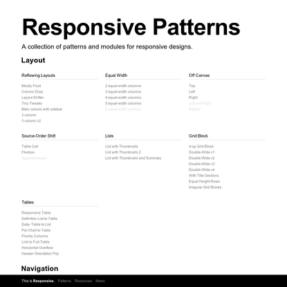 Responsive Web Design Patterns | This Is Responsive