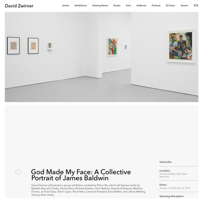 God Made My Face: A Collective Portrait of James Baldwin   David Zwirner