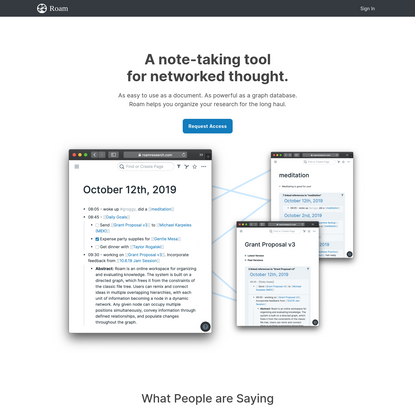 Roam Research - A note taking tool for networked thought.
