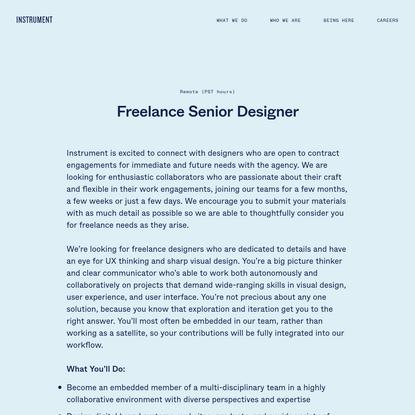 Instrument   Freelance Senior Designer
