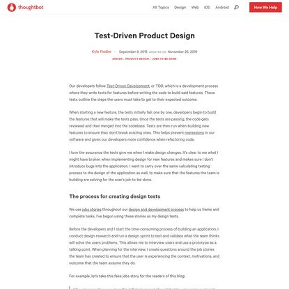 Test-Driven Product Design