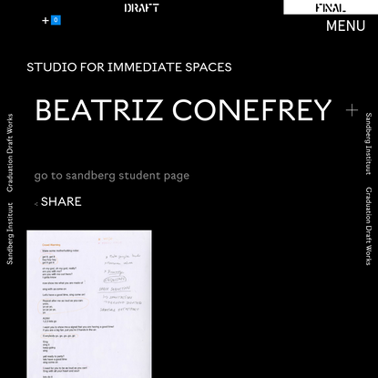 Beatriz Conefrey - Sandberg Graduation 2020 Exhibitions and Events