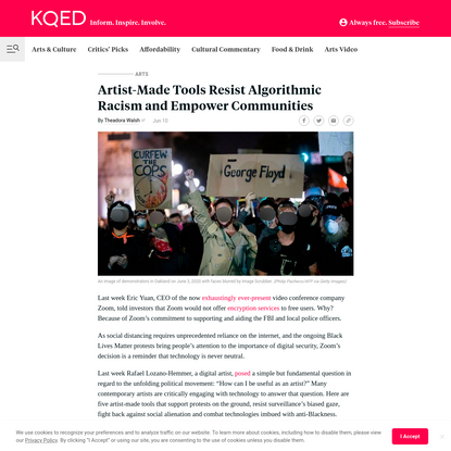 Artist-Made Tools Resist Algorithmic Racism and Empower Communities | KQED