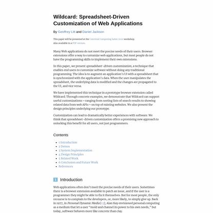 Wildcard: Spreadsheet-Driven Customization of Web Applications