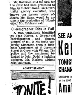 Fred Herko obituary NYT, Oct 1964