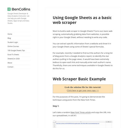 How to use Google Sheets as a basic web scraper