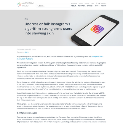 Undress or fail: Instagram's algorithm strong-arms users into showing skin