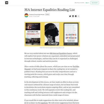 MA Internet Equalities Reading List