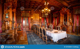Panoramic view of a grand dining room inside the historical Chapultepec Castle, Mexico City, Mexico. Photographed on 22nd January, 2018