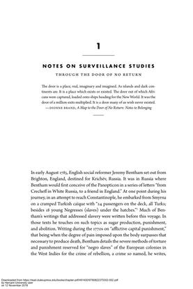 Simone Brown, Notes on Surveillance Studies: Through the Door of No Return