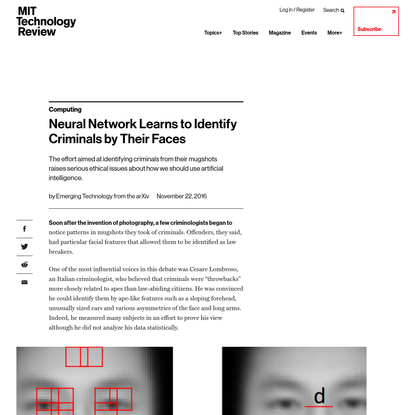 A deep-learning machine was trained to spot criminals by looking at mugshots