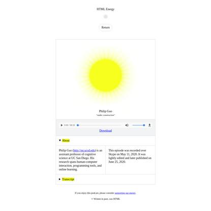 Philip Guo on HTML Energy