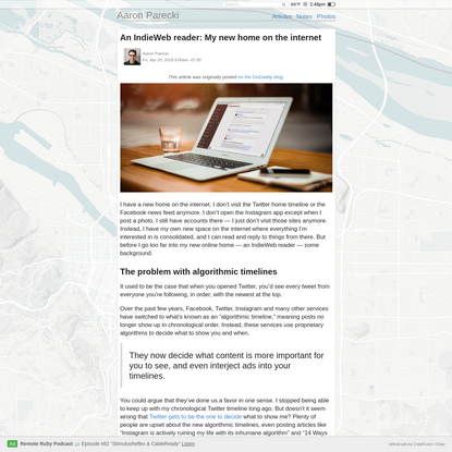 An IndieWeb reader: My new home on the internet