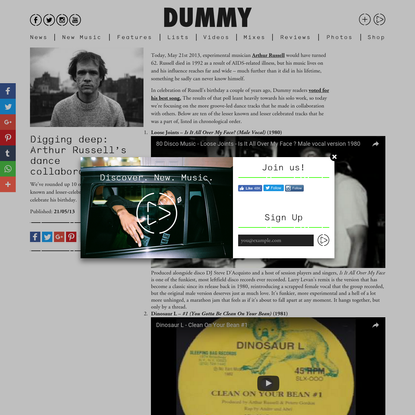 Digging deep: Arthur Russell's dance collaborations