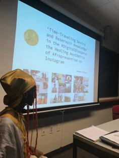 Neema Githere (@take.back.the.internet) guest lecturing as part of Black Diaspora Literacy: From Negritude to Drake (co-taught by Muna Mohamed and Yaa Addae, Tufts University Spring 2019)