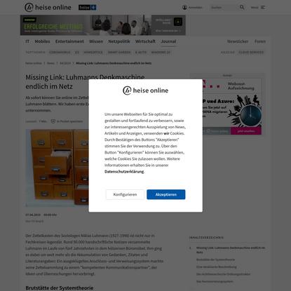 Missing Link: Luhmanns Denkmaschine endlich im Netz