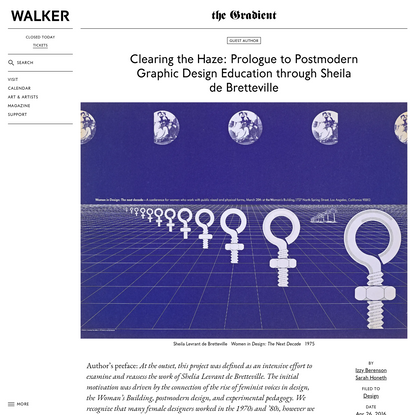 Clearing the Haze: Prologue to Postmodern Graphic Design Education through Sheila de Bretteville