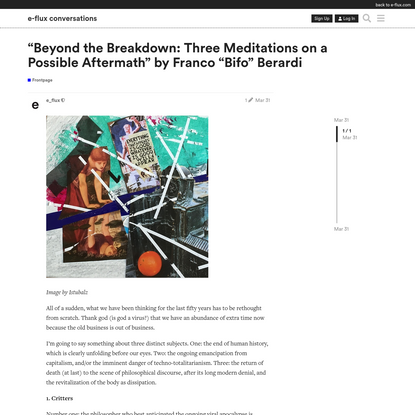 """""""Beyond the Breakdown: Three Meditations on a Possible Aftermath"""" by Franco """"Bifo"""" Berardi"""