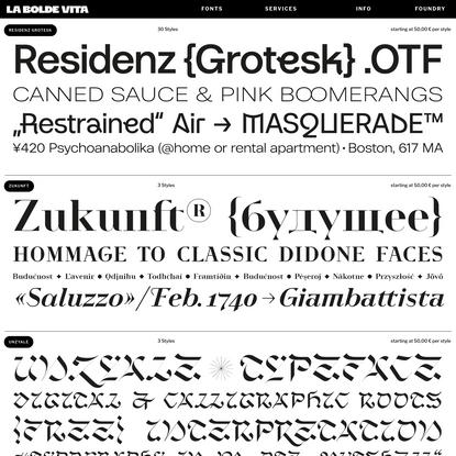 La Bolde Vita - Conceptual Display Typefaces