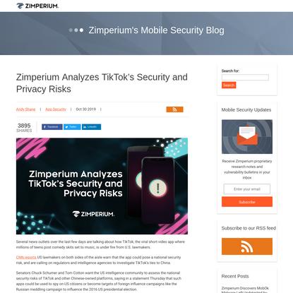Zimperium Analyzes TikTok's Security and Privacy Risks