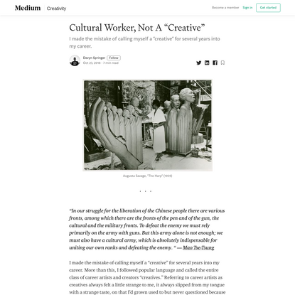 "Cultural Worker, Not A ""Creative"""