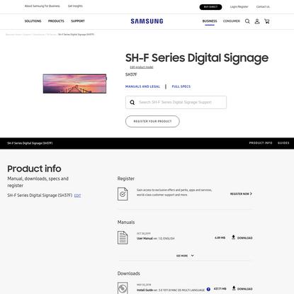 SH-F Series Digital Signage SH37F Support & Manual   Samsung Business