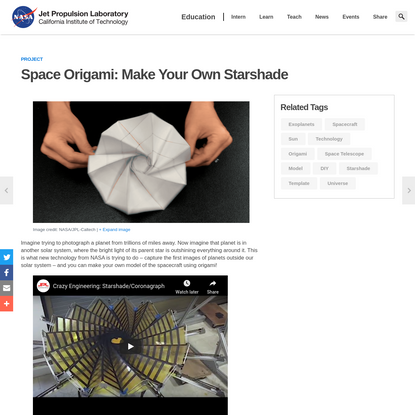 Space Origami: Make Your Own Starshade Project   NASA/JPL Edu