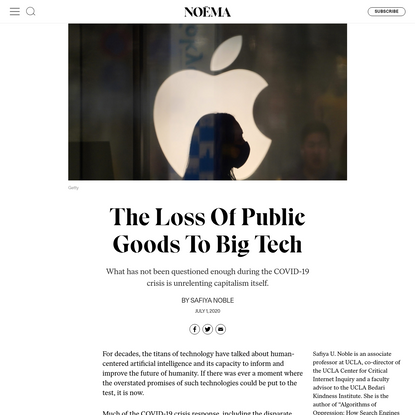 The Loss Of Public Goods To Big Tech - NOEMA