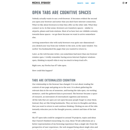 Open tabs are cognitive spaces