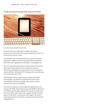 E-Ink word processing with Amazon Kindle | Shubhro Saha
