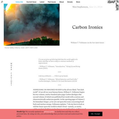 Carbon Ironies | Wen Stephenson