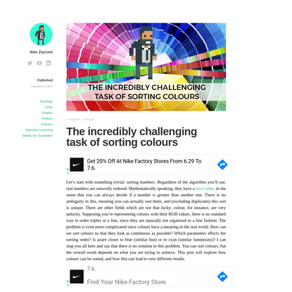 The incredibly challenging task of sorting colours - Alan Zucconi