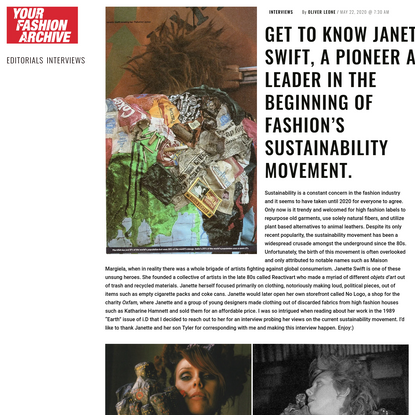 GET TO KNOW JANETTE SWIFT, A PIONEER AND LEADER IN THE BEGINNING OF FASHION'S SUSTAINABILITY MOVEMENT.