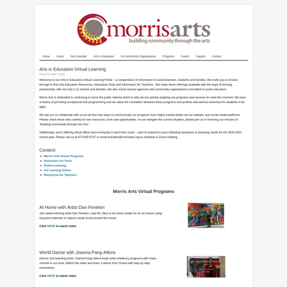 Arts in Education Virtual Learning