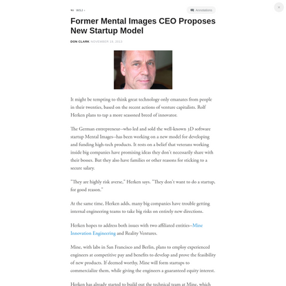 Former Mental Images CEO Proposes New Startup Model