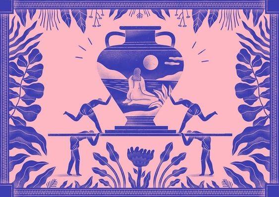 woman inside symmetric vase