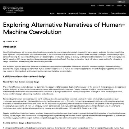 Exploring Alternative Narratives of Human-Machine Coevolution - School of Design and Creative Technologies - The University ...