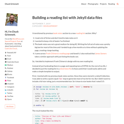 Building a reading list with Jekyll data files