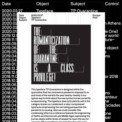 TP Quarantine   Typical Organization for Standards & Order