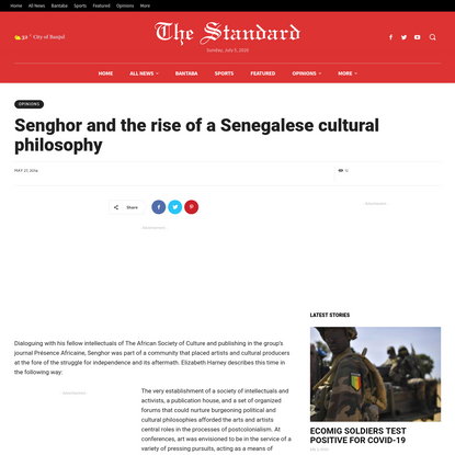 Senghor And The Rise Of A Senegalese Cultural Philosophy - The Standard Newspaper