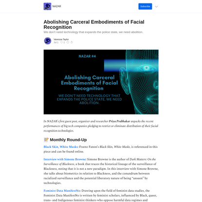 Abolishing Carceral Embodiments of Facial Recognition