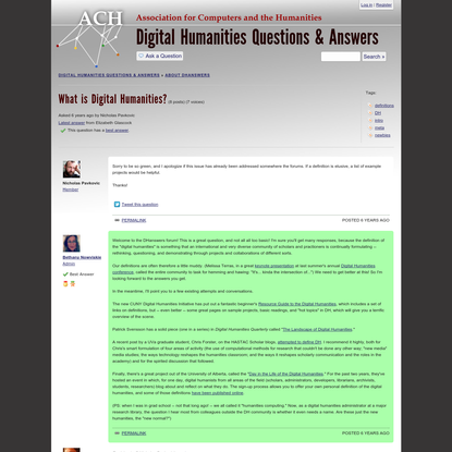 Digital Humanities Questions & Answers