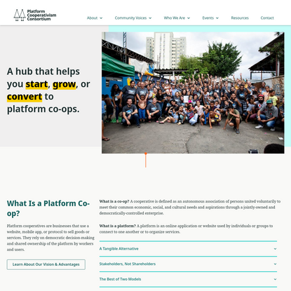 Platform Cooperativism Consortium | A hub that helps you start, grow, or convert to platform co-ops.