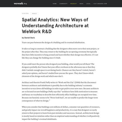 Spatial Analytics: New Ways of Understanding Architecture at WeWork R&D