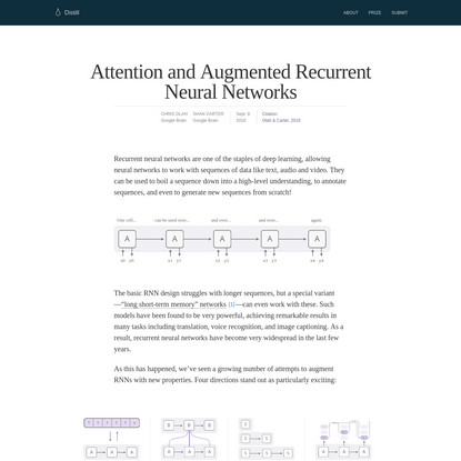 Attention and Augmented Recurrent Neural Networks