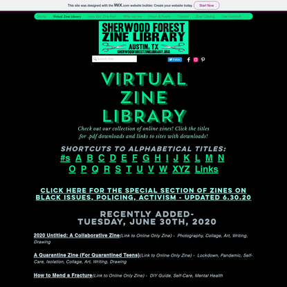 Virtual Zine Library | sherwoodforest