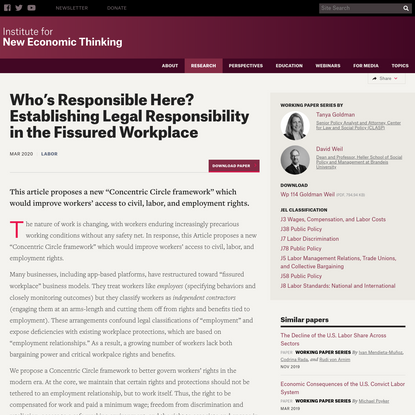 Who's Responsible Here? Establishing Legal Responsibility in the Fissured Workplace