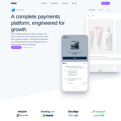 Stripe Payments: A complete payments platform, engineered for growth